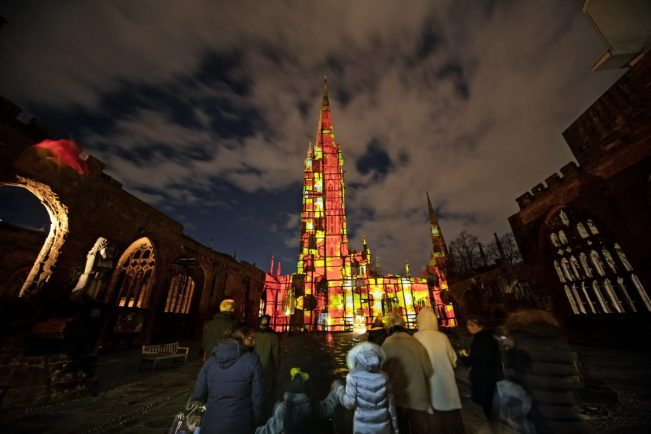 Where Light Falls: Coventry Cathedral illuminated in honour of forgotten Blitz heroes who fought to save medieval building